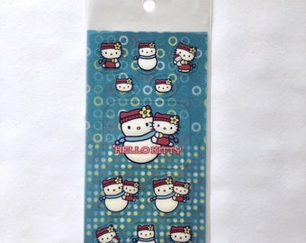 2002 Vintage New Sanrio HELLO KITTY sticker sheet: snowman hello kitty scarf