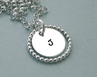 Sterling Silver Little Monogram Necklace with Beaded Ring