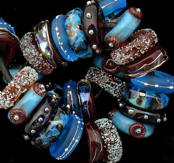 Lampwork Beads Handmade Beads Glass Beads Disc Beads Jewelry Supplies Craft Supplies Beading Necklace Boho Bead Bracelet Debbie Sanders