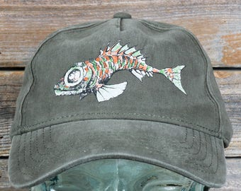 Fish - Garment Washed 100% Cotton Cap With 4-Color Screen Print -- Hook and Loop Closure