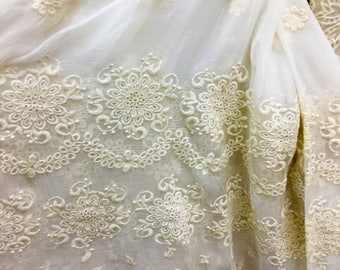 Embroidery silk fabric,crinkle silk chiffon lace fabric in beige,wedding dress fabric-ZSME0028