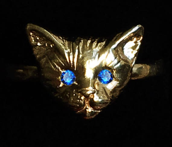 Yellow Gold Kitty Cat Ring with Blue Sapphire or Blue Spinel Eyes