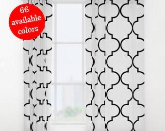 Quatrefoil Curtains, Quatrefoil Window Curtains, Arabic Tile Curtains, Moroccan Tile Curtains, Leaf Pattern, architecture pattern, Panel