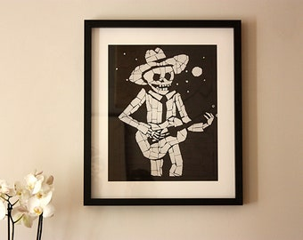 Day of the Dead Print - Large High Quality Black and White Giclee Print - Gift for Him
