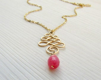 Gold necklace, Boho necklace, Pink necklace, Everyday necklace, Dainty Necklace, Layered necklace, Pink & gold necklace, Boho gold necklace