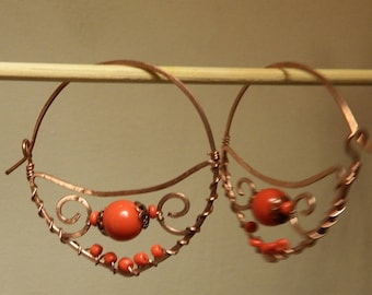 Earrings in copper and Red coral