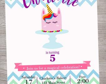 Unicorn rainbow magical Cake birthday baby shower invitation. printable. digital download