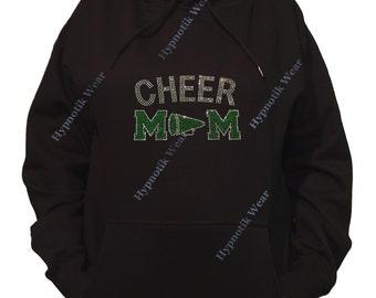 "Rhinestone Women's Pullover Hoodie "" Green Cheer Mom with Megaphone in Rhinestones "" Sweatshirt Sm to 3X"