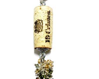 New Zealand Zinfadel color-burst cork floating keychain with Swarovski crystals