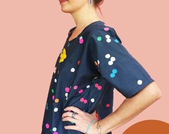 Navy Confetti Cotton Dress
