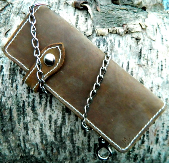 Biker Wallet, ALASKA MADE big leather wallet, Chain biker wallet, high quality leather wallet, large biker chain wallet