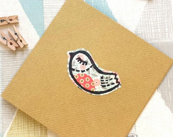 Little retro bird card