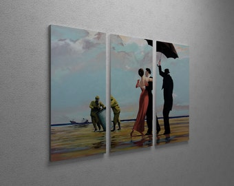 """Banksy Dancing at The Wastes Gallery Wrapped Canvas Triptych Print 48"""" x 30"""""""