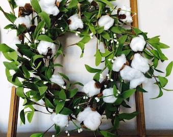 Handmade Cotton Stem and Greenery on Grapevine Wreath