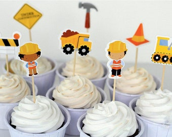 Construction Paper Cake Toppers  / 1st Birthday Party / Children / Kids / Baby / Diggers