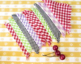 Vintage Gingham Napkins - Set of 10 - Luncheon Style - Checkered - Cotton - Fringe - 12 x 12 - Garden Party - Patio - Vintage 1970s