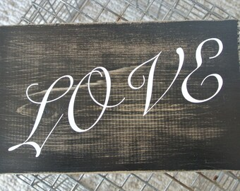 """Hand painted wooden sign, """"Love"""""""