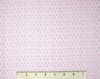 Valentine's Day Fabric - Petit Hearts Pink on White - Michael Miller YARD