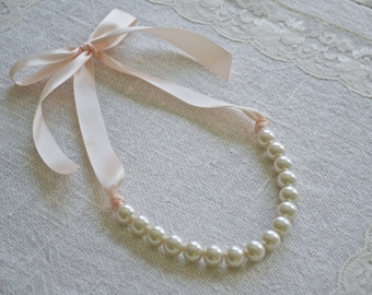 Mini Elizabeth: Pearl Necklace with Ribbon Tie - FULLY CUSTOMIZABLE