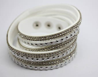 Bracelet white rhinestone personnalicer with charms - jewelry Creations - 39cm