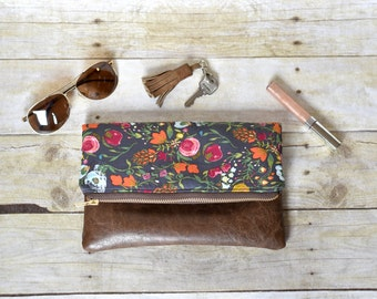 Floral fold over clutch- fold over clutch - fold over purse - floral purse - pink and orange clutch - leather clutch - faux leather purse