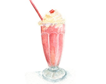 Watercolor Strawberry Shake, Strawberry Shake Print, Shake Print, Ice Cream Print