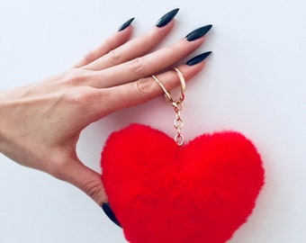 Puff Me Up Red Fur Heart Keychain
