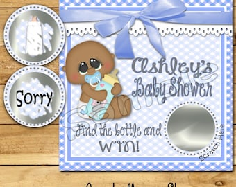 Boy Baby Shower game Baby boy shower ideas Custom game cards Scratch off game shower favors Baby lotto Scratch off tags 12 Precut printed AA