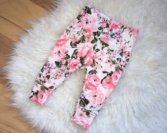 PINK FLORAL LEGGINGS; newborn outfits, custom baby leggings, baby shower gifts
