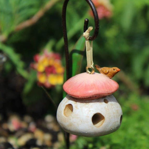 "Mushroom Bird Feeder 1.25"" for the Fairy Garden (Shepherd's Hook NOT INCL)"