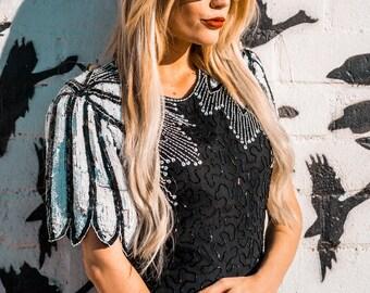 "70's Vintage BLACK and WHITE sequin blouse ""FLOCKIN"""