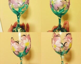 Floral wine glasses