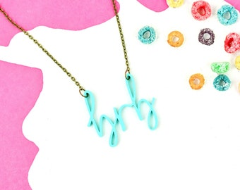 """Mint Green Internet Slang Necklace """"BRB"""" 