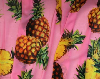 """Free shipping- By 3 yards-Wedding dress fabric, Pink silk fabric with pineapple, silk stretch fabric, printed fabric-SYL-42""""Wide"""