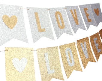 Silver and Gold Love Banner - Silver and Gold Wedding Banner - Silver and Gold Shower - Silver Gold Custom Text Banner - Silver Gold Decor