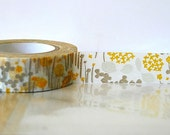 Japanese Little Garden Washi Tape Flowers GRAY and yellow orange yellow and gray decor washi tape masking Tape Wedding Decoration Gift Wrap,