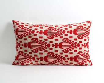 Handwoven red ikat velvet pillow cover 16x26 decorative lumbar cushion