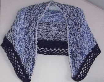hand knitted shawl or warmer shoulder blue and white Valentine