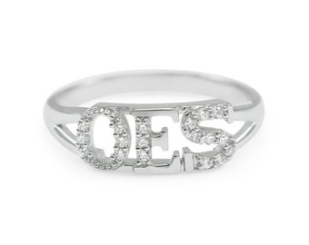 OES Sterling Silver Ring with simulated diamonds// Order of the Eastern Star// Free Masonic// Co Ed Fraternity// OES Merchandise// OES Gifts