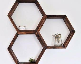 The Hexagon Shelf | Honeycomb Shelf | Home Decor | With Hangers