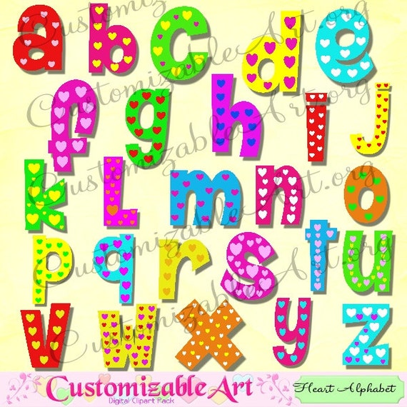 Alphabet clipart cute digital alphabet clip art heart colorful kids alphabet clipart cute digital alphabet clip art heart colorful kids love fun letters of the alphabet romantic abc green yellow red blue pink from altavistaventures Images