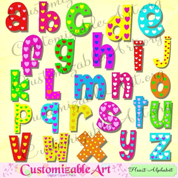 Alphabet clipart cute digital alphabet clip art heart colorful kids alphabet clipart cute digital alphabet clip art heart colorful kids love fun letters of the alphabet romantic abc green yellow red blue pink from thecheapjerseys Gallery