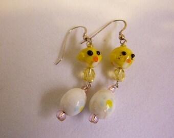Easter Egg Earrings, Chick Earrings, Cute Chicks, Spring Earrings, Spring Chick