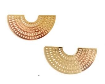 x 2 large prints half moon / semicircle filigree gold brass 38mm
