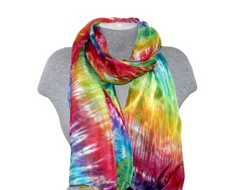 Silk Scarf Multi-color Hand Painted Neck Silk Rainbow Hand Dyed Scarf Mom Birthday Art  Long Women Romantic inspirational gifts Mom for Her