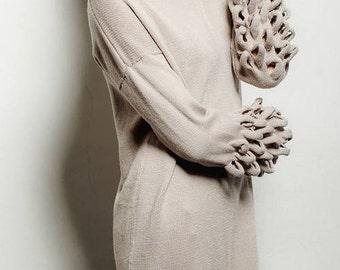High Neck Long Sweater Tunic/ Turtle Neck Dress/ Long sweater Loose Cardigan Dress/ Sweater Dress/ Knitted Dress/ Dressy Cardigans/ Tunic