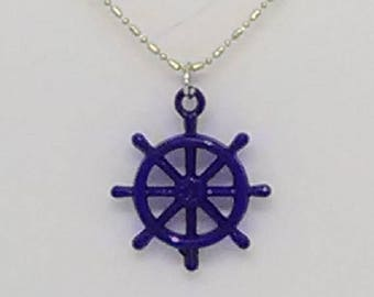 Blue Ship's Wheel Charm Necklace