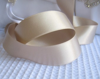 "Champagne Satin Ribbon Double Sided 1"",  1.5"",  2.25"" High Quality Satin Weddings, Invitations, Sashes, Apparel, Headbands  By the Yard"