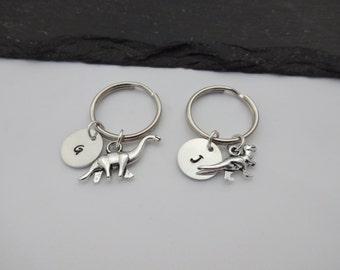 Initial Dinosaur Keyring, Hand Stamped Keyring, Dinosaur Keyring, Animal keyring, Charm Keyring, Dinosaur Keychain, Personalised Keyring