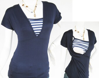 HELENA Nursing Top Breastfeeding Top Navy NEW Original Design Maternity Nursing Clothes